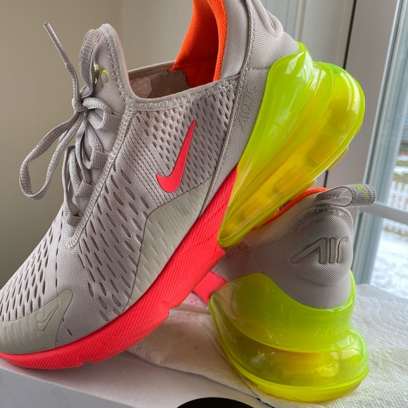 Nike air max 270 beige neon yellow sneakers 8 12